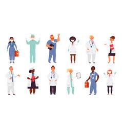 doctor nurse characters medical nurses health vector image