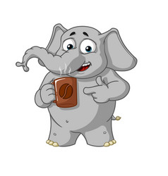 Elephant character offers a cup of coffee vector