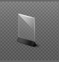 Empty clear plastic table stand mockup isolated vector