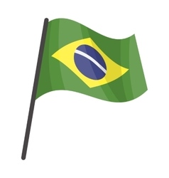 Flag of Brazil icon in cartoon style isolated on vector image