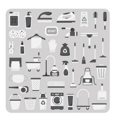 Flat icons cleaning set vector