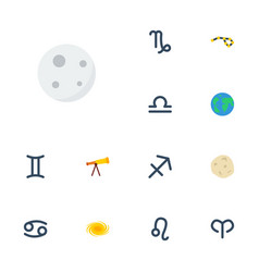 flat icons horoscope goat lunar and other vector image