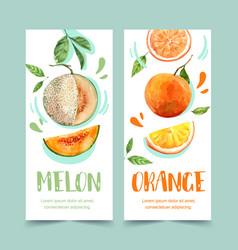 Flyer watercolor design with fruits theme melon vector