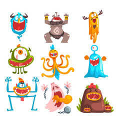 Funny cartoon monster with different emotions vector