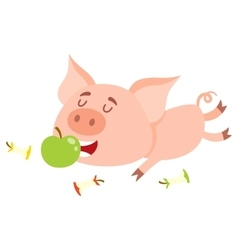 Funny little pig lying and eating apple three vector