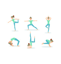 girl doing yoga set young woman performing vector image