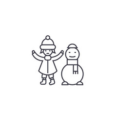 girl with a snowman line icon sign vector image