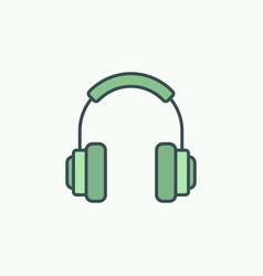 green on-ear headphones icon or logo vector image