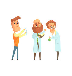 Group of men scientists in laboratory funny vector