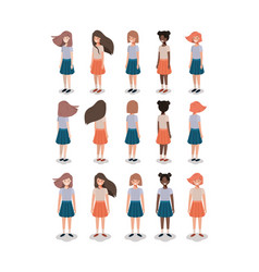 group of young girls vector image
