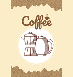 hand drawing coffee card vector image