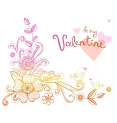 Hand-Drawn Sketch floral composition vector image