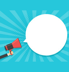 Hand hold megaphone comic retro background with vector