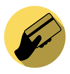 hand holding a credit card flat black vector image