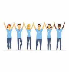 happy volunteers holding hands - cartoon people vector image