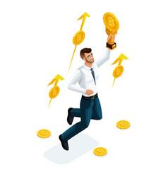 isometric businessman investor financial market vector image