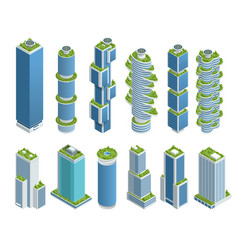isometric set modern ecologic skyscraper vector image