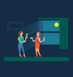 Ladies holding cocktails near window disco vector