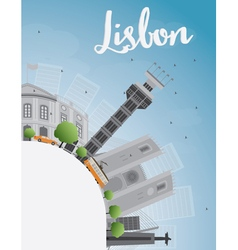Lisbon city skyline with grey buildings blue sky vector