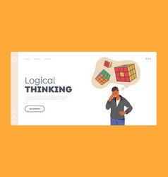 Logical thinking landing page template man vector
