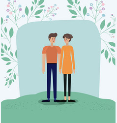 lovers couple in the grass with leafs frame vector image