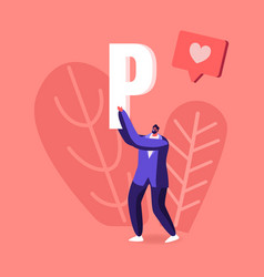 male character carry huge letter p with heart icon vector image