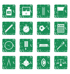 Measure precision icons set grunge vector