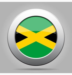 Metal button with flag of Jamaica vector