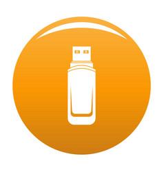 Mini flash drive icon orange vector