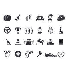 monochrome pictures set sport symbols vector image