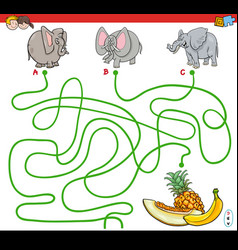 Paths maze game with elephants and fruits vector