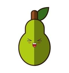 pear fresh fruit kawaii style isolated icon vector image