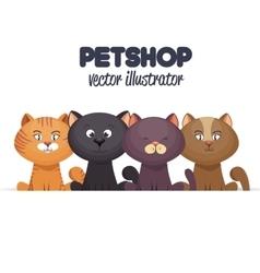 pet shop emblem with kittens design vector image