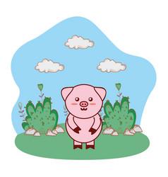 Pig in bushy lanscape cartoon vector