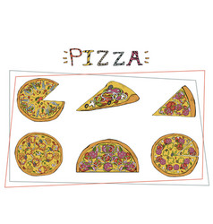 pizza different types set margherita and vector image