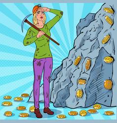 Pop art woman with pickaxe mining bitcoin coins vector