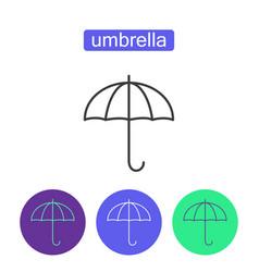 Rainbow umbrella outline icons set vector