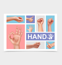 Realistic female hands collection vector