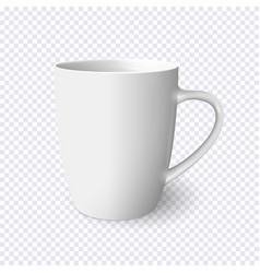 realistic white mug isolated on transparent vector image