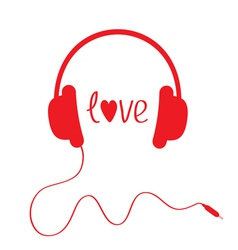 Red headphones with cord Isolated Love card vector