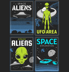 Retro posters with alien and ufo area cards vector