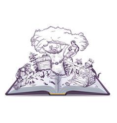 Russian tales of pushkin open book vector