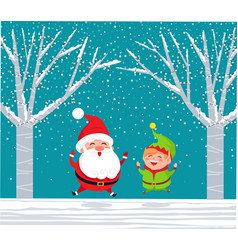 santa claus elf in winter forest jumping with joy vector image
