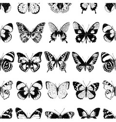 seamless background different drawn butterflies vector image