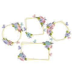 set isolated floral geometric gold frames vector image