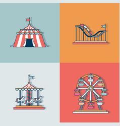 Set line icon circus attraction elements vector
