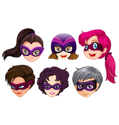 Set of female superhero head vector