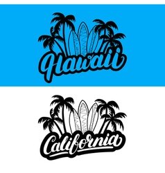 Set of Hawaii and California hand written vector image