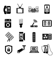 Smart Home Black Icon Set vector