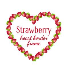 strawberry heart border frame vector image